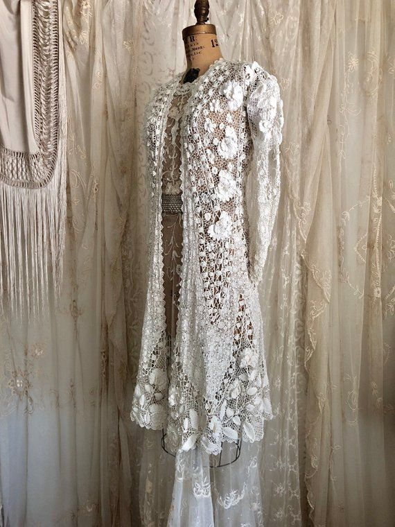 ac0b431423a Exquisite Antique Irish Lace Wedding Coat   Edwardian Opera Coat   Handmade  Crochet Lace   Bridal