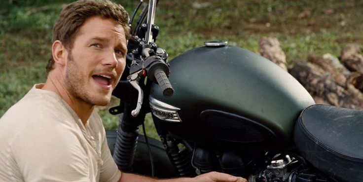 Triumph Scrambler (2010) motorcycle in JURASSIC WORLD (2015) @officialtriumph