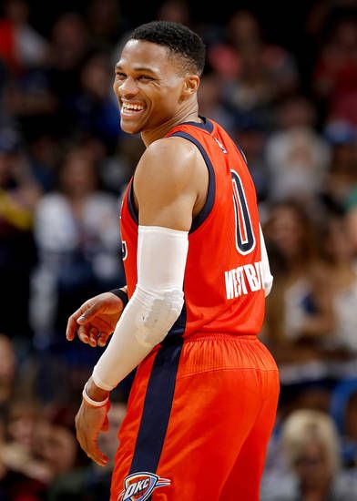 Oklahoma City's Russell Westbrook (0) laughs during the NBA basketball between the Oklahoma City Thunder and the Charlotte Hornets at the Chesapeake Energy Arena in Oklahoma City, Sunday, April 2, 2017Photo by Sarah Phipps, The Oklahoman