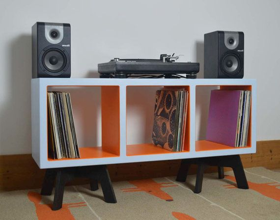 vinyl record storage colourful display cabinet funky retro furniture open shelving turntable stand side table tv stand