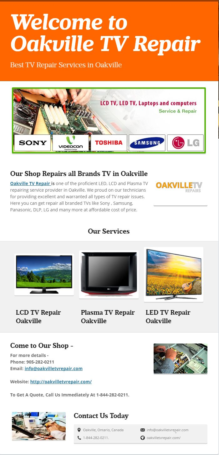 Oakville TV Repairis one of the proficient Panasonic TV Repairs service provider in Oakville. We proud on our technicians for providing excellent and warranted all types of TV repair issues. Here you can get repair all branded TVs like Sony , Samsung, Panasonic, DLP, LG and many more at affordable cost of price.
