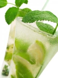 1 Whole lime, peeled ½ C. Lime juice 6 T. Honey 8-10 Mint leaves 1 t. Ginger, freshly minced To place in individual glassses: 6 Wedges lime, peeled 36 Mint leaves