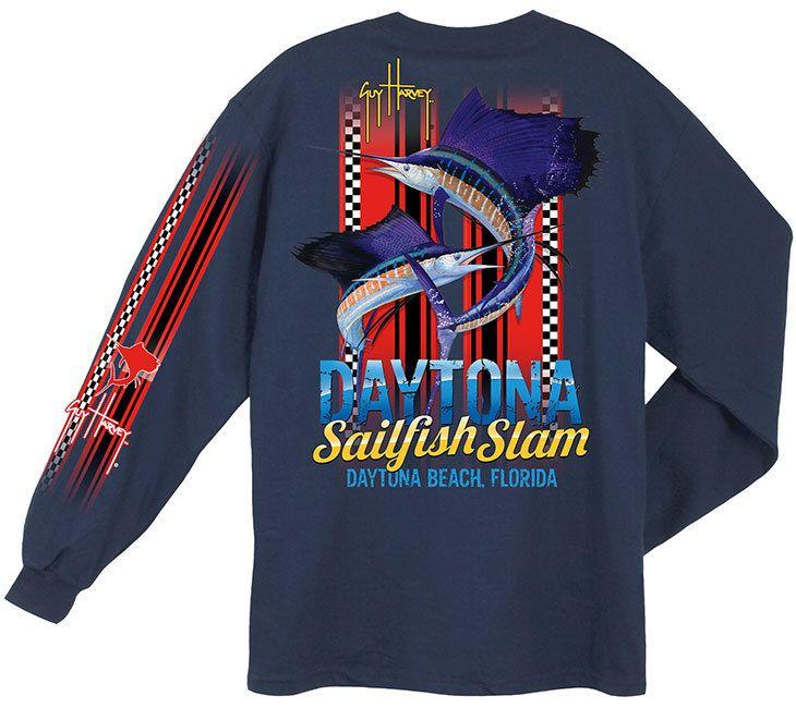 Guy Harvey Daytona Slam Back-Print Men's Long Sleeve Tee w/Pocket in Navy  or White