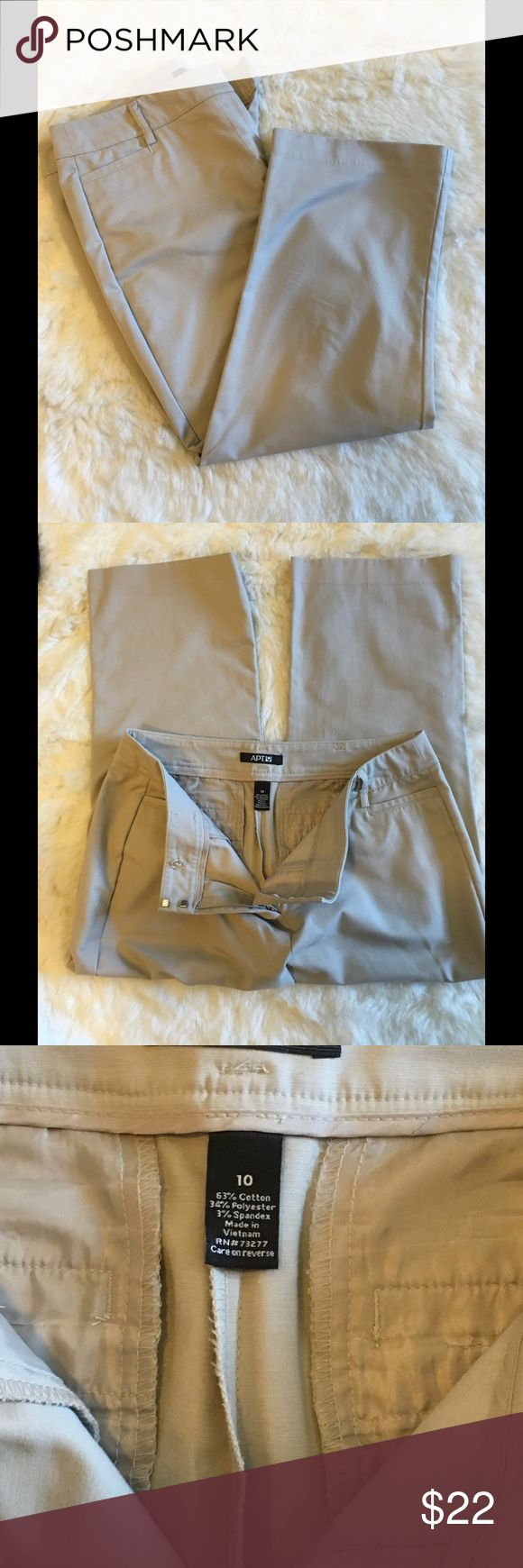 Apt. 9 khaki Capri pants, size 10 With a slight stretch, these are your mainstay khaki capris! Excellent for work or for a day out. Falls to mid calf. Structured fabric, maintains shape. Like new. Apt. 9 Pants Capris