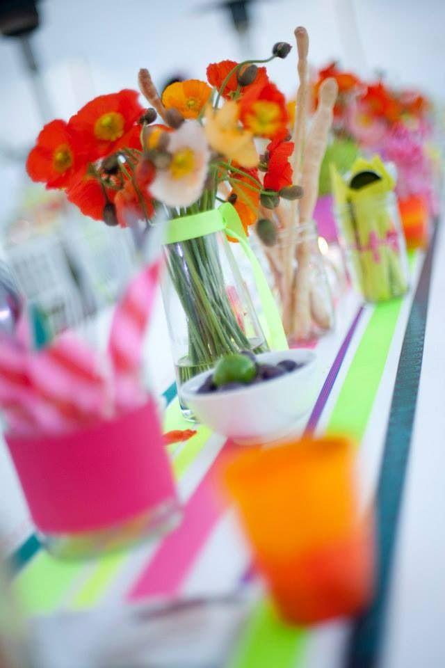 Pippa's Flowers #neon #poppies #lumo #ribbon