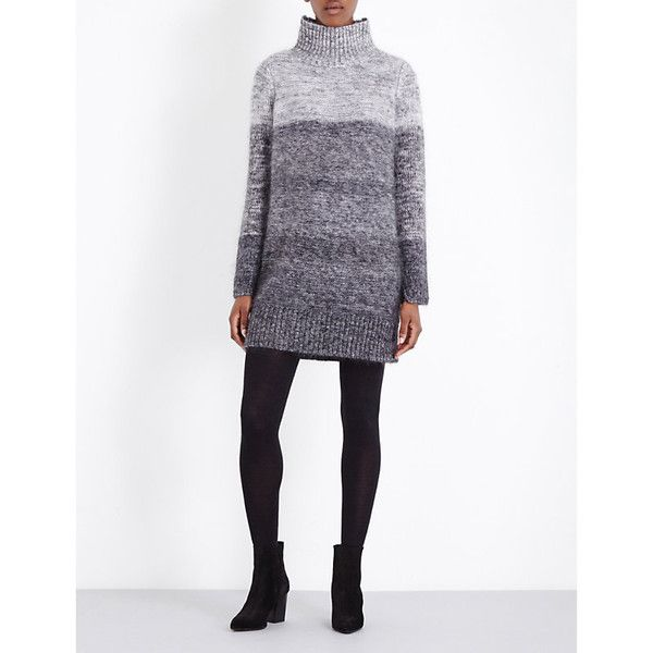 Rag & Bone Melina flecked turtleneck knitted dress (4 855 SEK) ❤ liked on Polyvore featuring dresses, long-sleeve turtleneck dresses, white long sleeve dress, turtleneck top, ribbed turtleneck and white turtleneck dress