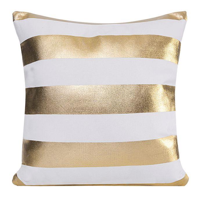 Biała poszewka ozdobna w złote pasy
