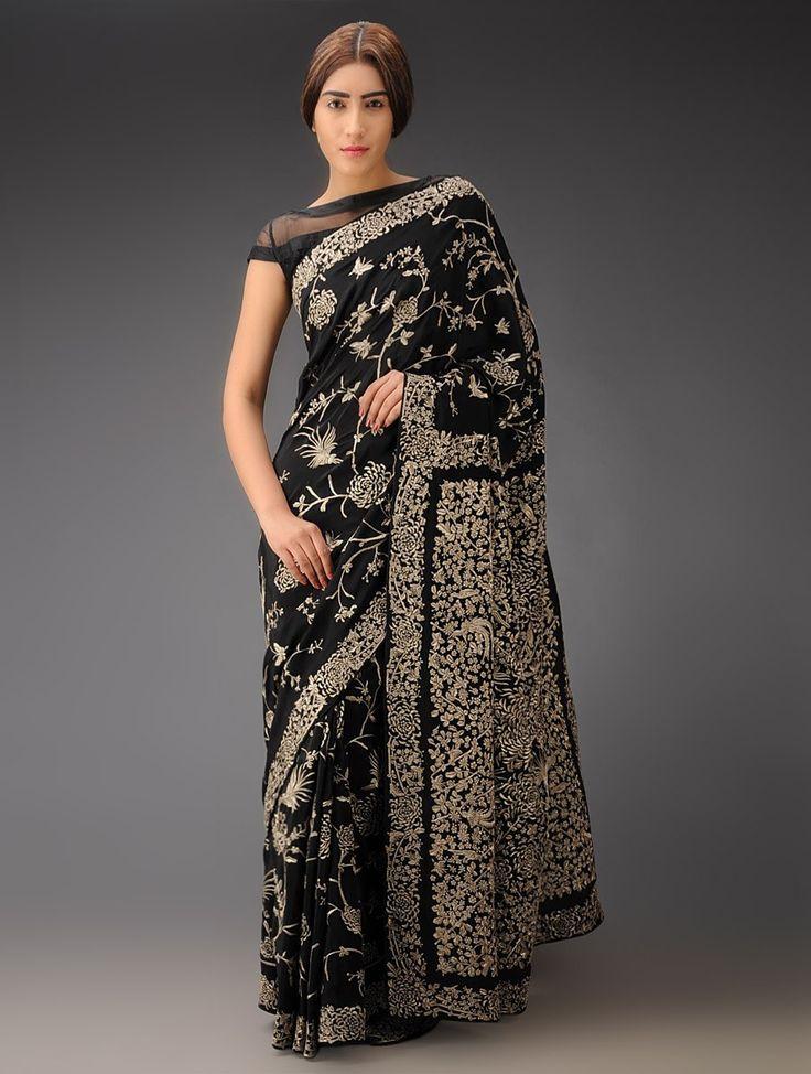 Buy Black Chrysanthemum Jaal Crepe Silk Parsi Gara Saree Online at Jaypore.com
