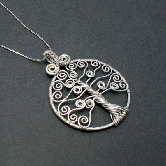 Silver tree of life pendant curly tree of life by AnnaWireJewelry