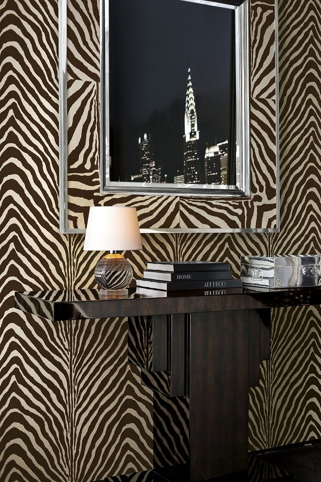 Animal-print wallcovering from Ralph Lauren Home's Penthouse Suite collection.