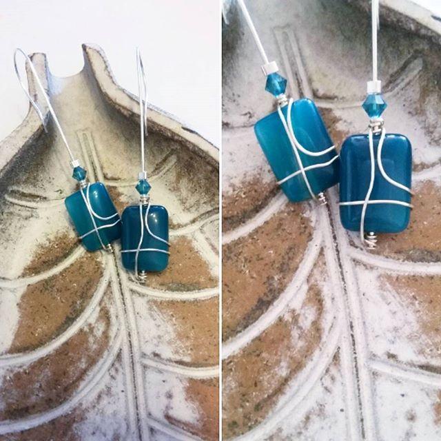 #earrings #Silver #handcrafted #swarovski #blue