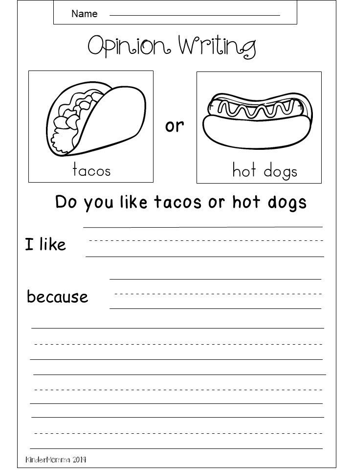 Free Opinion Writing Printable Kindergarten Writing Prompts