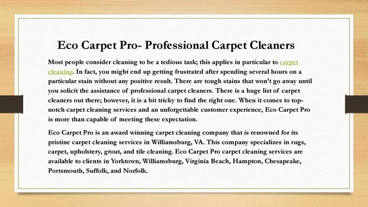 Eco Carpet Pro Professional Carpet Cleaners