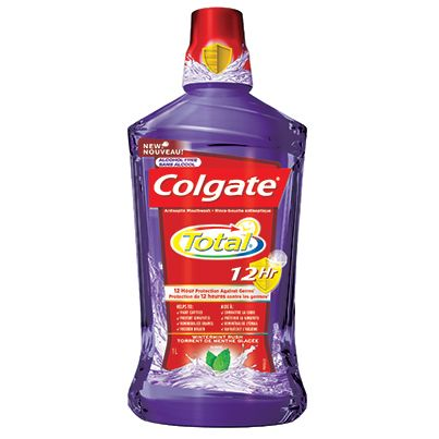 Colgate Total* Mouthwash THE SCOOP: This mouthwash protects your smile from germs† for 12 hours — even after you eat and drink. In addition to freshening your breath, it improves oral health†. † From germs that cause plaque and gingivitis when used after brushing. Fight cavities. Use as directed.Colgate-Palmolive Canada Inc. *TM Reg'd/M.D