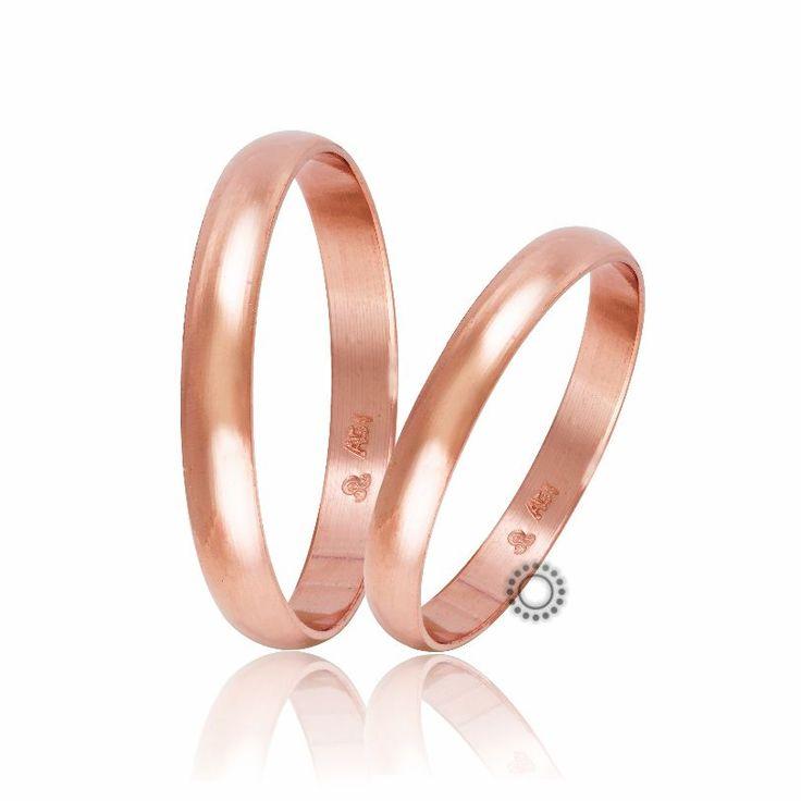 Βέρες γάμου Στεργιάδης HR1A-R | Κλασικές λεπτές βέρες από ροζ χρυσό σε ιδιαίτερα χαμηλό ύψος | ΤΣΑΛΔΑΡΗΣ E-shop #βέρες #βερες #γάμου #ροζ