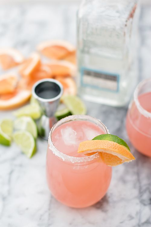 Tequila Paloma Ingredients (makes one tall glass): 1/2 cup Tequila  1/2 cup grapefruit juice (the pure, fresh kind. Not the juice cocktail, unless that's what you prefer) 1/2 cup club soda 1 tablespoon lime juice 1 teaspoon sugar or agave nectar Salt or sugar for rim