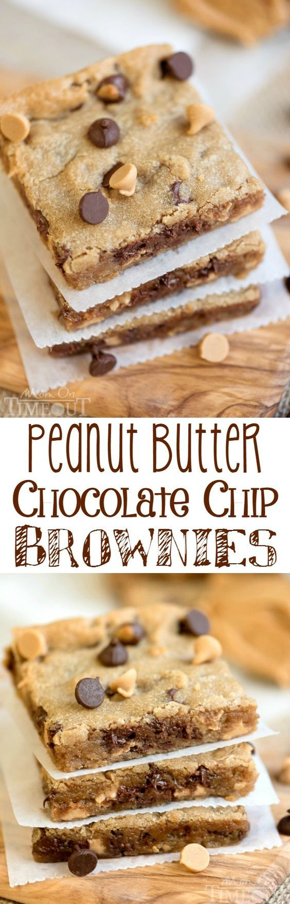Perfectly moist, decadent, and fudgy, these sinful Peanut Butter Chocolate Chip Brownies will redefine your love for peanut butter. The perfect easy dessert recipe for peanut butter and chocolate lovers!  MomOnTimeout.com