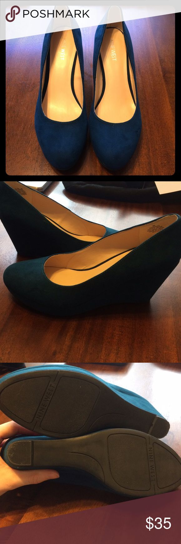 Nine West Teal Wedge Heels Nine West Teal Wedge Heels. Size 8. Fits an 8/8.5 foot. Worn twice. Great condition. Stored in a dry, clean, smoke free environment. Make an offer! Nine West Shoes Wedges