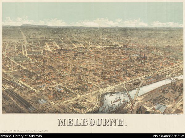 Melbourne, from the Illustrated Australian News, April 1882. Note Mount Macedon in the distance to the left