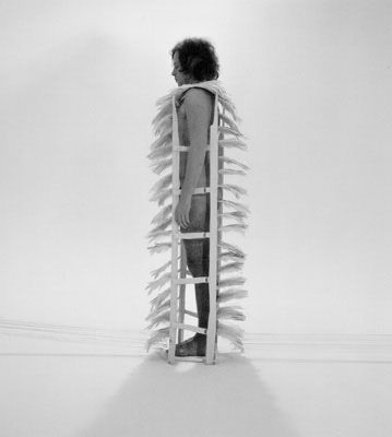 Rebecca Horn:  Federkleid, 1972 (Feather Instrument)  Silver gelatin print, printed 2000  Image size: 54,0 x 45,0 cm