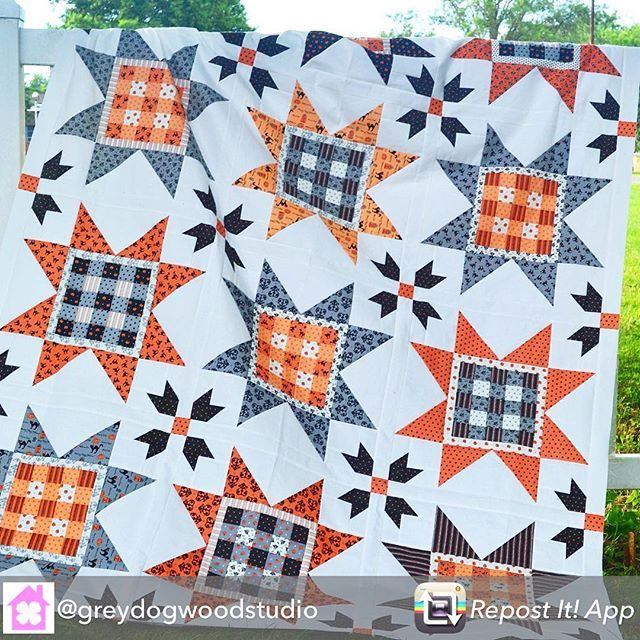 This fabulous Halloween quilt is actually the Gingham Stars quilt from our Holiday Wishes book by Sherri Falls. See how versatile these patterns are? ❤️ Repost from @greydogwoodstudio: Today's my big day on the Holiday Wishes book blog tour! I'm so happy that I get to share my secret sewing with y'all. I love this book by @sherfalls and @fatquartershop , full of fun patterns. I made Gingham Stars, but I used Spooky Delight fabric by @bunnyhilldesigns instead of Christmas fabric. Now I'm r...