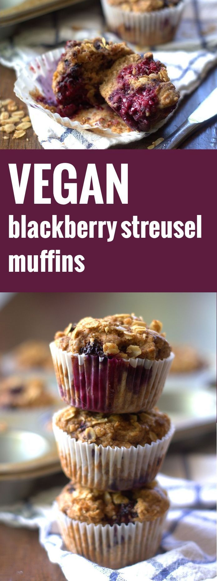 These vegan blackberry muffins are made with a lightly sweet whole wheat batter with a hint of cinnamon and sprinkled with a oat streusel topping.
