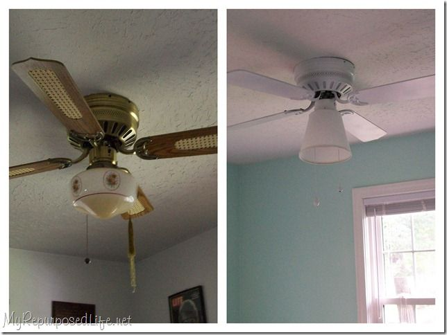 How to spray paint a ceiling fan.
