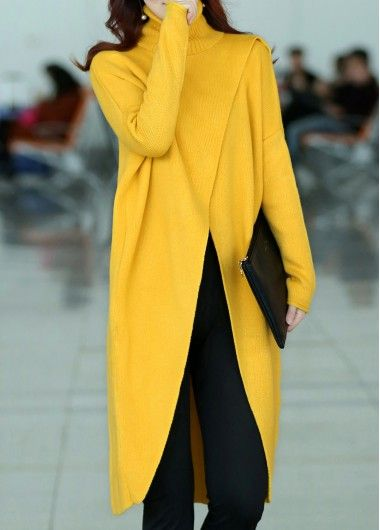 Front Slit Turtleneck Long Sleeve Yellow Sweater, free shipping worldwide, check it out.