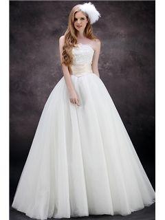 Aラインストラップレス帝国ウエスト床まで届く長さチュールウェディングドレス