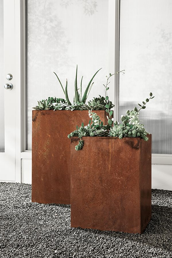 Give your plants a unique home with modern planters made from COR-TEN steel.