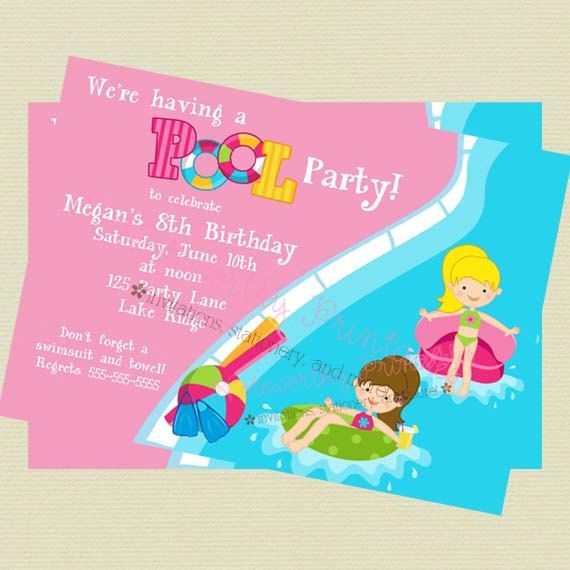 Printable Girl Pool Party Invitation