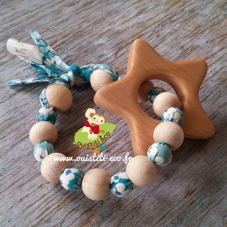 Hochet type Montessori en LIBERTY, perle en bois de genévrier et hêtre, anneau…