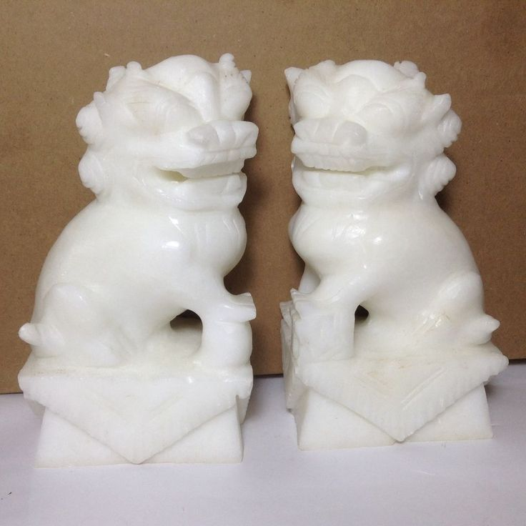 Chinese White color Stone Marble Pair of Foo Dogs Bookends asian Sculptures NICE