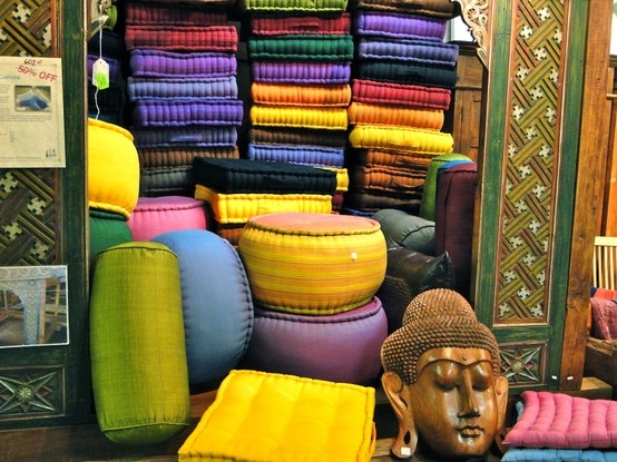 Seat covers, meditation pillows, decorative pillows, boulsters - ALL hypo-allergenic, filled with KAPOK which comes from a tree in Indonesia