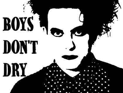 Robert Smith - The Cure 'Boys Don't Dry' Hand Screened Tea Towel by Plum Jam