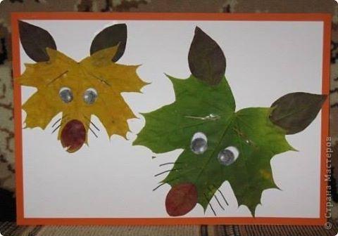 Фантазия из осенних листьев - аппликация на тему природы 1