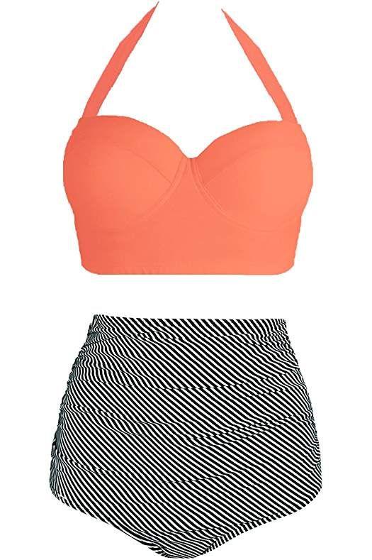 bff05bf027c Amourri Vintage Polka Underwire High Waisted Swimsuit Bathing Suits Bikini