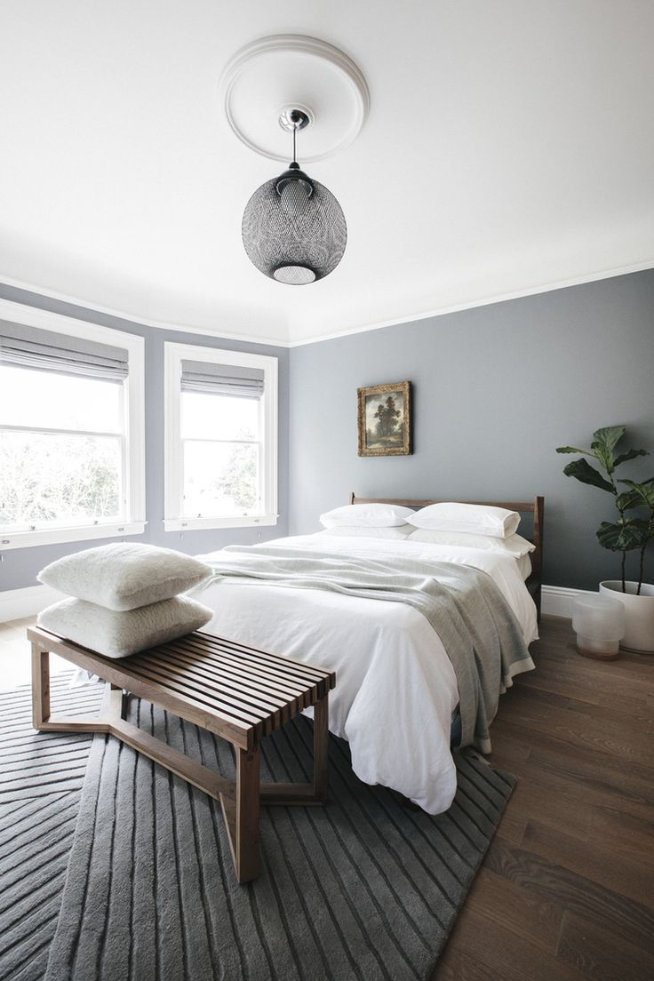 Like the wall color, the wood floor color & the bench---Luft Design Bedroom