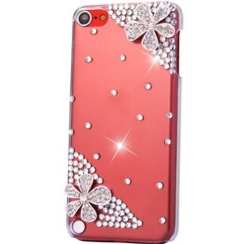 Glittering Red Sparkle Flowers Rhinestone Clear Case for iPod Touch 5 from Cool Mobile Accessories