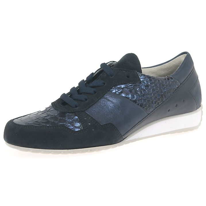 Buy Gabor Raine Wide Fit Lace Up Trainers, Navy, 3 Online at johnlewis.com