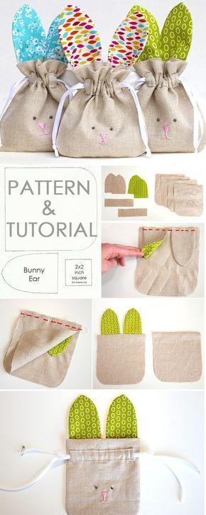 Tendance Sac 2017/ 2018 Description How to Sew simple Drawstring Bunny Bag. Tutorial & Pattern www.free-tutorial…