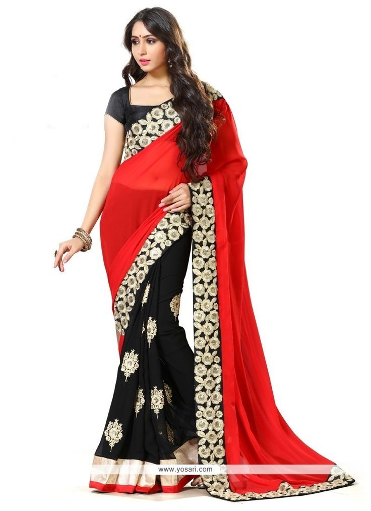 Irresistible Black And Red Embroidered Work Georgette Traditional  Saree Model: YOSAR9353
