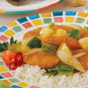 Sweet-Sour Chicken Nuggets - This is so good and easy but when I make it, I use corn syrup because I don't want it to have a pancake taste and then I sprinkle a little salt and lots of red pepper flakes as the final ingredient.  I also salt the vegetables just a little as they are cooking.  Layers of flavor.