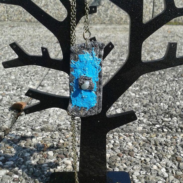 Ciondolo collana pietra con catenina cucito a mano idea regalo necklace : Collane di frida-s #collana #idearegalo #necklace #gift