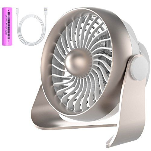 Small Desk Fan Portable USB & Rechargeable Battery Operated Mini Personal Fan for Table Desk Office Camping Traveling Dorm Desktop 4 Speeds by AngLink