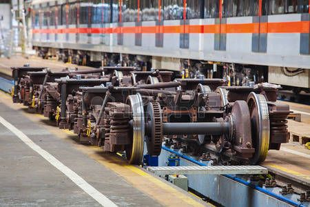 Undercarriages for maintenance of subway wagons in workshop of subway depot Stock Photo