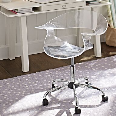 canu0027t splurge on the eros swivel chair the acrylic swivel chair from pb teen deskpb - Desk Chairs For Teens