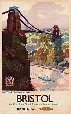 British Rail - Bristol, Clifton Suspension Bridge - vintage old repro poster