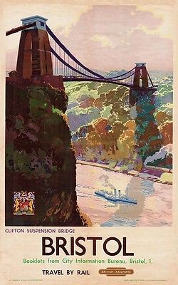 British Rail - Bristol, Clifton Suspension Bridge - vintage old repro poster