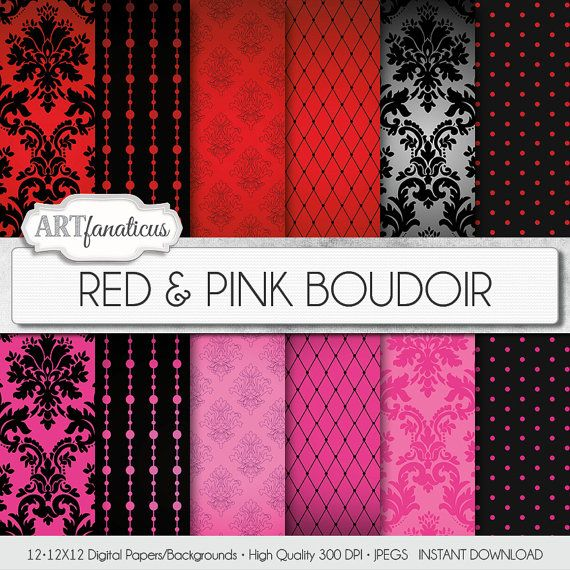 Boudoir digital paper RED & PINK BOUDOIR sexy red by Artfanaticus, $4.90